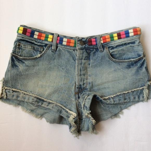 Free people Eliot denim embroidered rainbow cutoff
